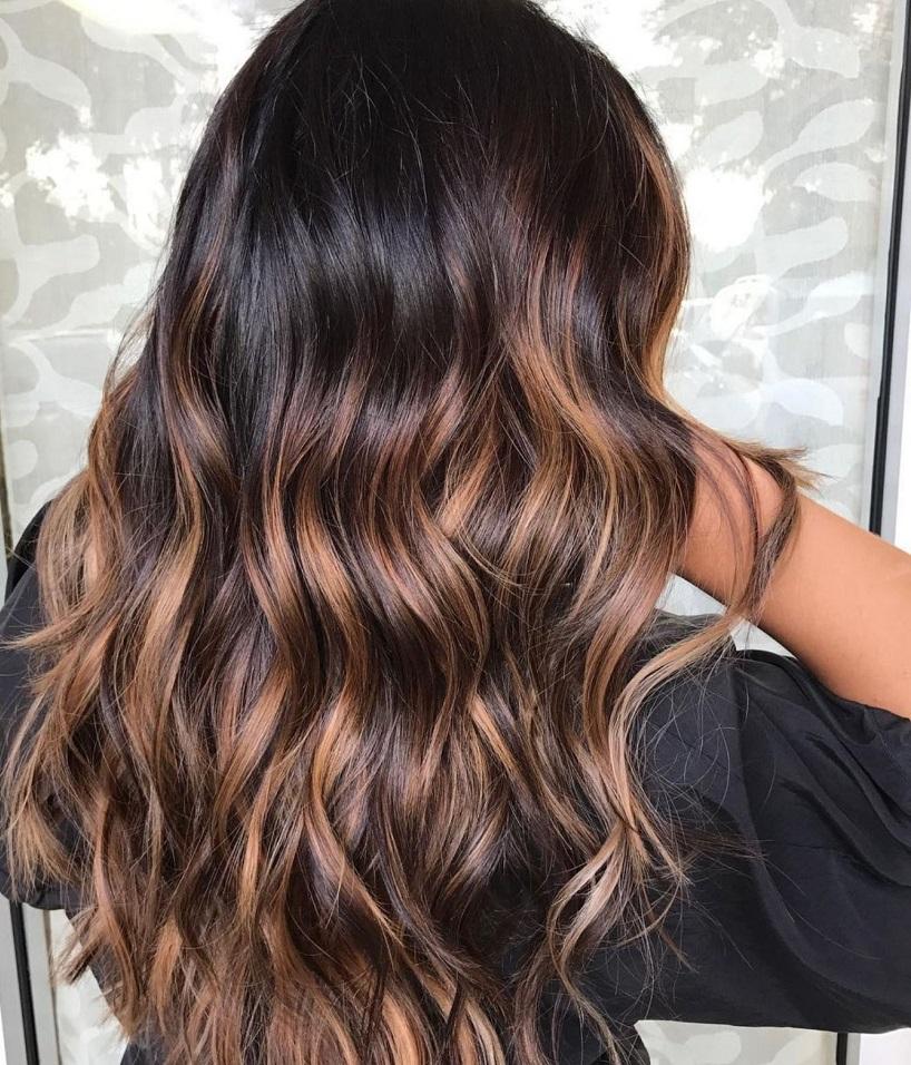 highlight dark chocolate brown hair